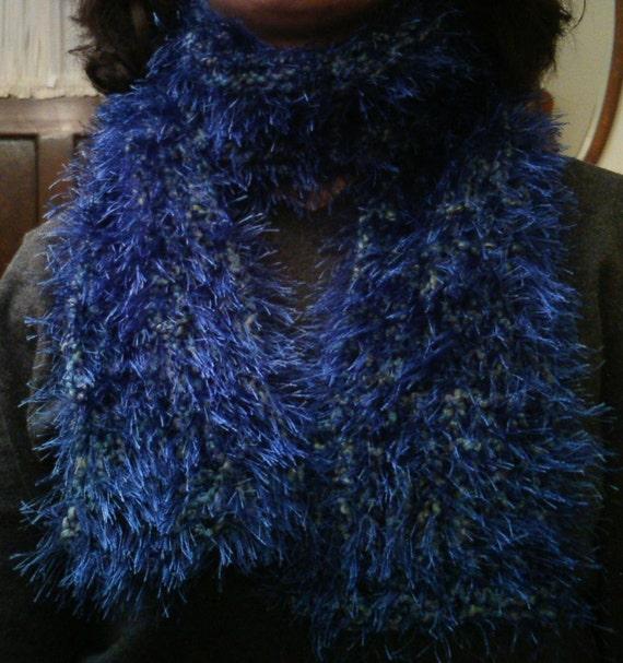 Cool Saphire Blue Fun Fur Scarf