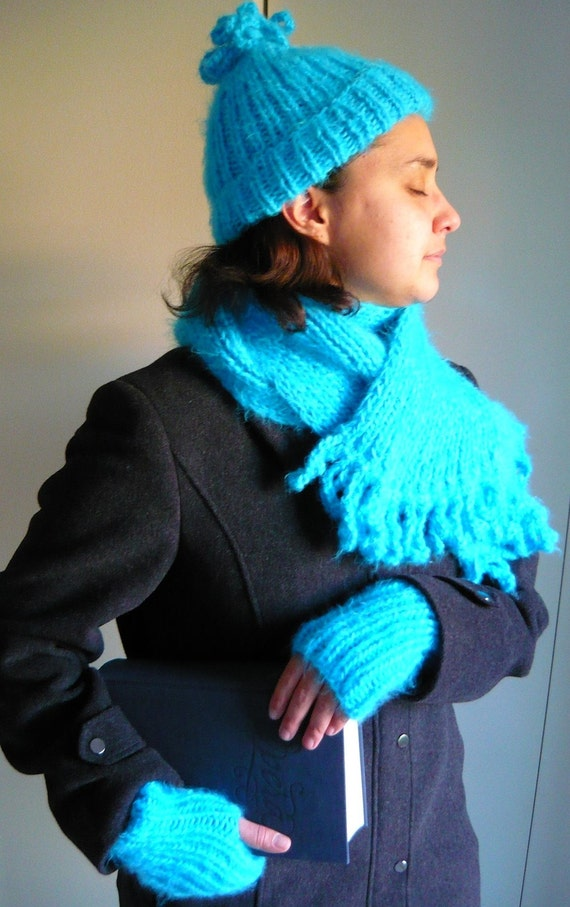Bright Turquoise Hat, Scarf, and Fingerless Mittens Set-Free Shipping