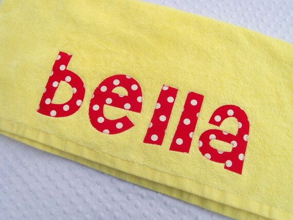 SALE --Personalized Applique Name Towel - YELLOW ONLY in this style - You can choose the fabrics for your name