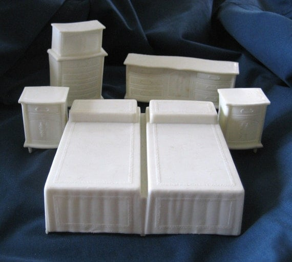 1960s 5 pc bedroom suite plastic doll furniture by foundalchemy Plastic bedroom furniture