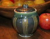 Ceramic Lidded Jar / Metallic Black / Green / Burnt Orange Notes / Porcelain