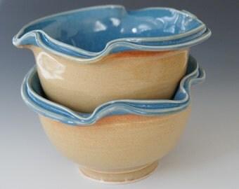 Ceramic Dessert Bowls /  Blue  Orange / Double Rim / Porcelain