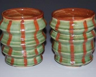 Ceramic Tumbler / Burnt Orange / Green