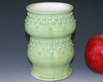 Ceramic Vase /  Key Lime Green / Slip Design / Porcelain Utensil Holder