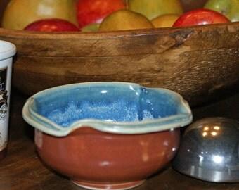 Small Ceramic Bowl / Dessert Bowl / Ice Blue / Orange Brown / Double Rim