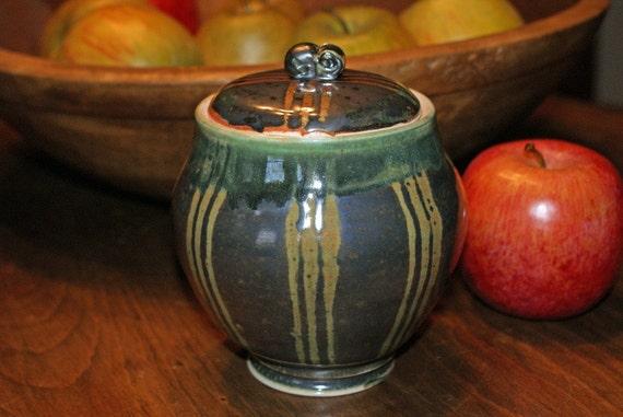 Ceramic Lidded Jar / Metallic Black / Green / Burnt Orange Notes / Porcelain