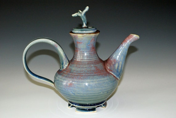 Ceramic Teapot / Blue / Lilac
