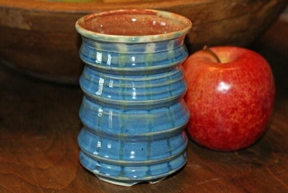 Ceramic Tumbler / Burnt Orange / Blue / Green Lines