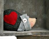 Big Red Heart Hedgie Winter Hedgehog