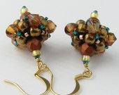 Hand Beaded Drop Earrings in Copper Gold and Teal