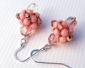 Hand Beaded Drop Earrings Pink Rhodochrosite and Peachy Czech Glass