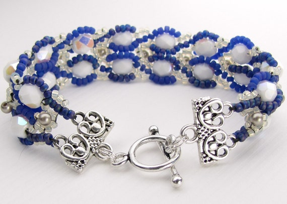 Hand Beaded Bracelet -Blue and White with Sterling Toggle