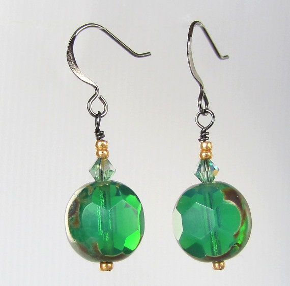 Green Glass Earrings, St. Patrick's Day Perfect