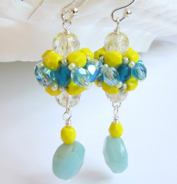 Beaded Earrings Bright Yellow and Aqua with Aventurine Dangle