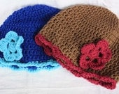 Crochet  Customized Hat With Flower (adult)