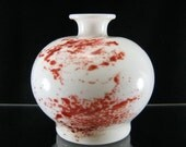 White and Red Bud Vase, Hand Blown Glass