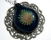 Glass Flower Pendant in Marine Blue, Hand Blown Glass