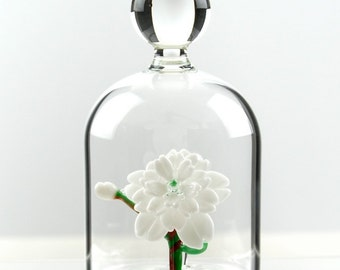Glass Flower in a Jar - White Cherry Blossom