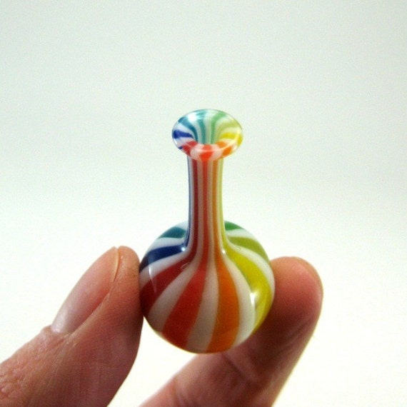 Miniature Bottle with Rainbow Stripes, Hand Blown Glass