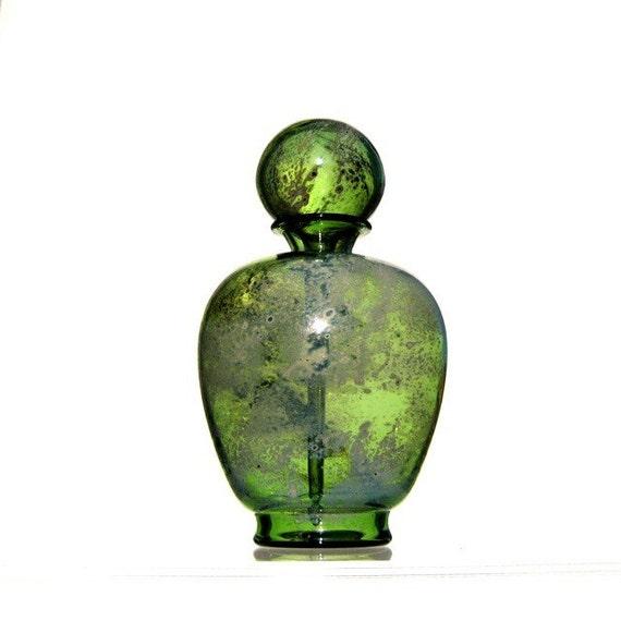 Hand Blown Glass Perfume Bottle in Green