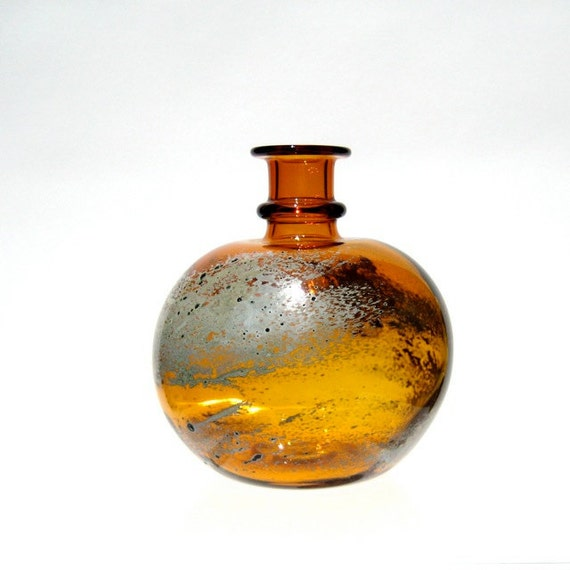 Hand Blown Glass Vase, Yellow and Silver Bud Vase