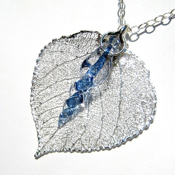 Real Leaf - Silver Leaf and Glass Icicle Pendant