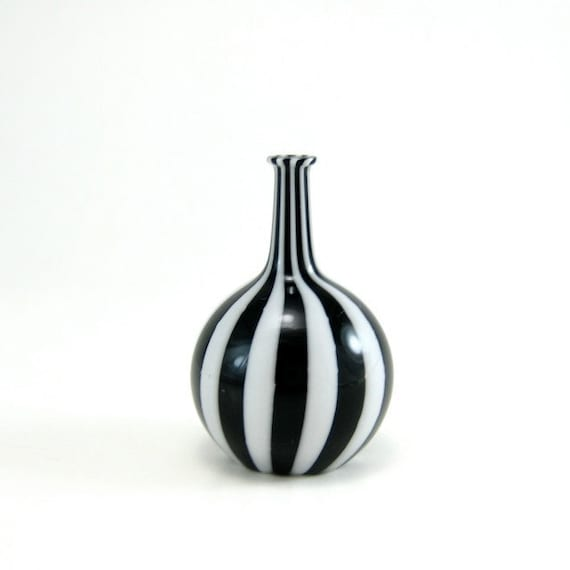 Miniature Bottle in Black and White Stripes, Hand Blown Glass