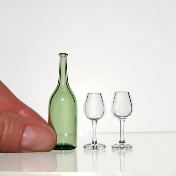Miniature Wine Set in Green and Clear, Hand Blown Glass