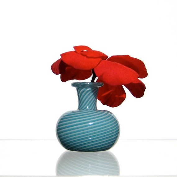Miniature Vase in Turquoise and White, Hand Blown Glass Swirl