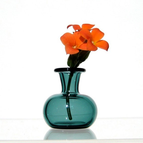 Miniature Vase in Teal, Hand Blown Glass