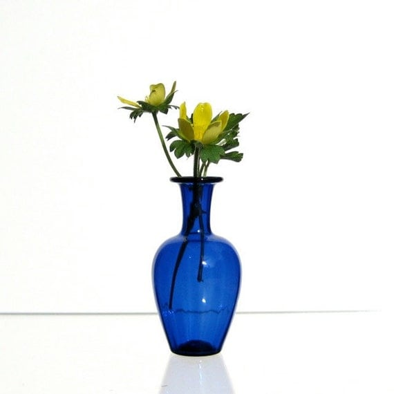 Scalloped Blue Miniature Vase, Hand Blown Glass