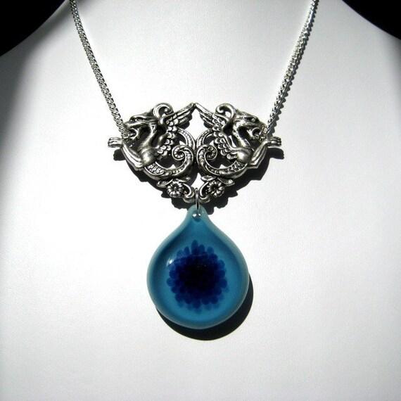 Blue Glass Pendant - Mythical Beast