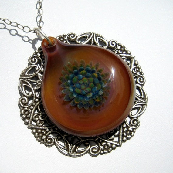 Caramel Glass Flower Pendant, Lampwork Glass