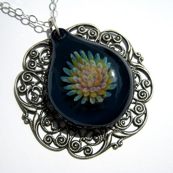Glass Flower Pendant in Marine Blue, Hand Blown Glass
