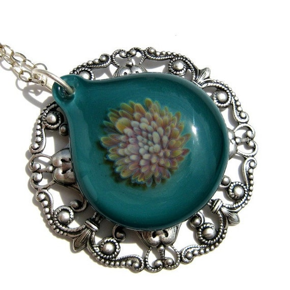 Hand Blown Glass Pendant, Turquoise and Silver Glass Flower