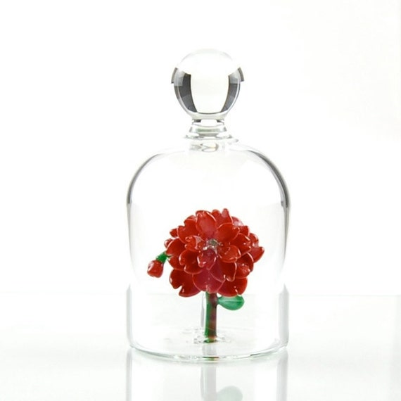 Glass Flower in a Jar - Red