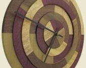 Prism Clock with Purpleheart, Primavera, Walnut and Poplar /Free Shipping Etsy