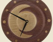 Purpleheart and Curly Maple Crescent moon wood wall clock