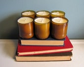 6 Recycled Beer Bottle Soy Candles