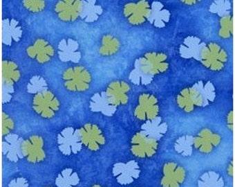 Serenity-clover on deep blue-nature fabric-Clothworks