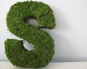 Woodland Moss Covered Monogram Letter- Small 8 Inch Using Eco-Friendly materials