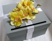 Wedding Card Box Gray with Yellow Orchids, Custom Wedding Cardbox, Gray and Yellow Wedding, You Can Customize Colors and Flowers