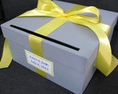 Gray and Yellow Wedding Card Box with Yellow Ribbon Bow and Personalized Tag Can Customize Flowers and Colors