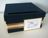 Modern Wedding Card Box Bridal Shower Engagement Anniversary Navy Blue and Gold Modern Personalized Tag You Can Customize Small 9 inch