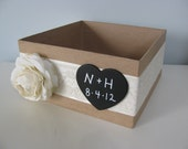 Rustic Wedding Program Box, Card Box, Amenity, Wish Box Personalized Chalkboard or Wood Tag Ivory Ranunculus with Ivory Lace You Customize