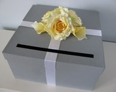 Wedding Card Box Gray with Yellow Roses and Calla Lily You Can Customize Colors and Flowers Large 14 inch Box