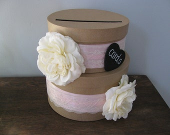 Rustic Victorian Wedding Card Box 2 tiered with Chalkboard or Wood Personalized Tag Large Ivory Open Roses and Pink and Ivory Lace