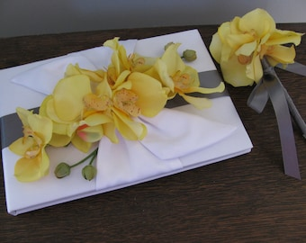 Gray and Yellow Wedding Guest Book and Guest Book Pen SET You customize colors and personalized tag free