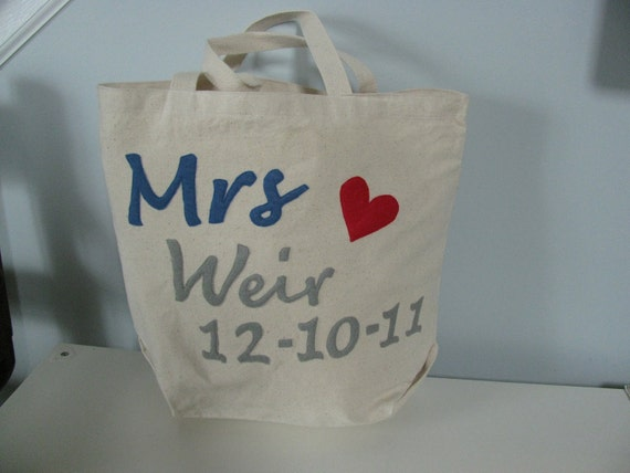 You can Personalize Large Bride Bridal Canvas Tote Bag Just Engaged I Said Yes Honeymoon Carry-All Bridesmaids Gift Bag