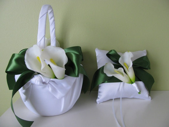 Flower Girl Basket and Ring Bearer Set of 2- Satin Ivory or White Calla Lilies and Green Ribbon- You Customize St Patricks Day Wedding